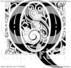 Clipart of a Black and White Vintage Letter Q Monogram - Royalty Free  Vector Illustration by BNP Design Studio