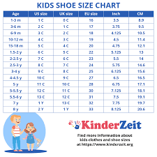 Vans Toddler Size Chart Inches Kids Shoe Sizes Childrens Shoe Sizes By Age Boys Girls