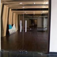 building glass door. frameless glass door building