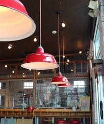 grif and cheryl chose to customize these hand crafted american made pendant lights with generous 17 shades a cherry red finish and vintage style