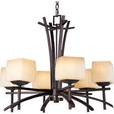 asian six light chandelier