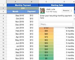 Monthly Payment Sheet Google Sheets Debt Repayment Template Josh Lurie Medium
