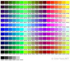 Color Spectrum Chart Websafe Color Chart Colortools Net