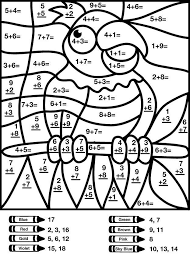Adding by number of digits. Bird Addition Color By Number Worksheet Math Coloring Worksheets Math Pictures Math Coloring