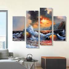 Living Room Oil Paintings Oil Painting Canvas Abstract Sea Wave Landscape Art Decoration