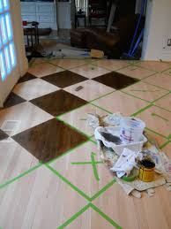 How to paintstain a pattern on a wood floor by artist Arlene