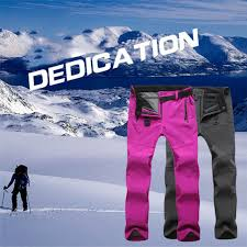 Outdoor Hiking Ski Pants Women Warm Fleece Padded Windproof Waterproof Trousers