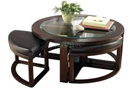 round coffee table with seats dark brown antique wood and glass round coffee table with stools