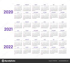 Calander Years Calendar Layouts For 2020 2021 2022 Years Stock Vector