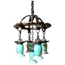 hammered arts crafts chandelier w 5 quezal green feather pull art glass shades