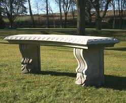 single curved plain stone bench large