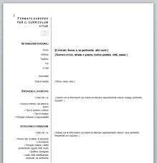 Oltre 32 template di cv europass da scegliere. Curriculum Vitae Europeo Da Compilare Curriculum Vitae Modello Curriculum Programma Scolastico
