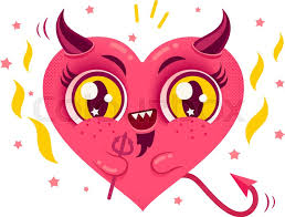 vector cute heart with devil horns cute devil heart in kawaii style for valentine s day stock vector colourbox
