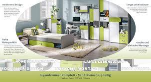 Jugendzimmer Komplett Set B Klemens 9 Teilig Farbe Grün Weiß
