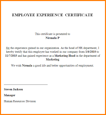 Sample Experience Letter From Employer It Manager Erpjewels Com