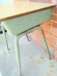 vintage child s school desk wood and metal original green paint kuehne