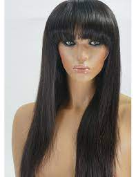 long black wig with bangs human hair