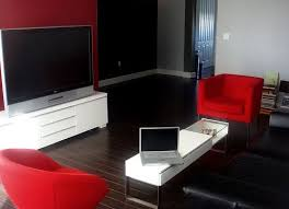 living room black and red interior