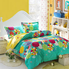 Turquoise Yellow and Red Bright Colorful Nature Floral Garden ... & Turquoise Yellow and Red Bright Colorful Nature Floral Garden Vintage  Oriental Style 100% Cotton Full Size Bedding Sets Adamdwight.com