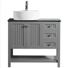 modena single vanity with glass countertop with white vessel sink grey 36 without mirror