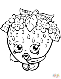 Strawberry Kiss Shopkin Coloring Page Free Printable Coloring