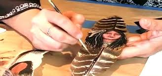 how to do acrylic painting on feathers