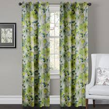 elegant decorating ideas using green fl loose curtains and rectangular white leather armchairs also