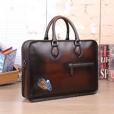 luxury venezia leather briefcase computer bag tote bags full grain leather briefcase tattoo brown custom satchel