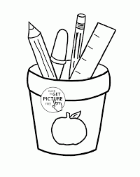 Small Picture School Supplies coloring page for kids school coloring pages