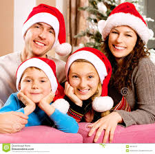Family Christmas Picture Family Near The Christmas Tree Royalty Free Stock Photography
