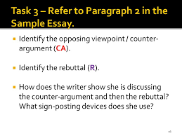 part the essay structure ppt task 3 refer to paragraph 2 in the sample essay