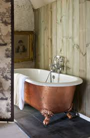 Exquisite Bathroom Interior Decoration With Painting Clawfoot Tub Design :  Charming Free Standing Soaking Bathtub With