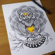 цветной универсальный эскиз тату совы 144