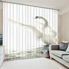 White Swan 3D Blackout Window Curtains For Living room Bedding room