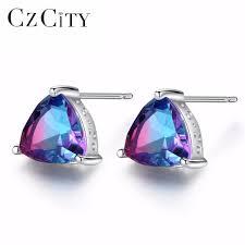 2019 <b>CZCITY</b> Luxury Rainbow Topaz Stud Earrings Real <b>100</b>% <b>925</b> ...