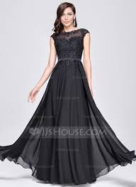 A Line Princess Scoop Neck Floor Length Chiffon Charmeuse Evening