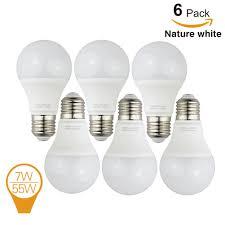 Natural White Light Kelvin 6 Pack Homelek 7w Led Light Bulbs Equivalent To 55w E27