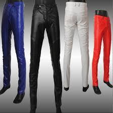 2018 mens tight leather pants male slim skinny pant mens leather pants mens clothing casual leather
