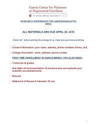 Reu Application Form Stony Brook University