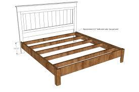 King Size Wood Bed Frame Plan And Measurement Design Idea