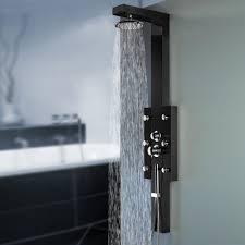 Schwarzes Edelstahl Duschpaneel Duschsäule Mit Regendusche Und Massagedüsen Von Sanlingo