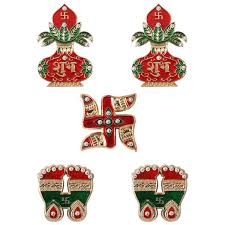 Laxmi Pagla Designs Acarya Shubh Labh Kalash Sawstika And Laxmi Pagla For Diwali Pooja And Home Decortion Set 5 Piece