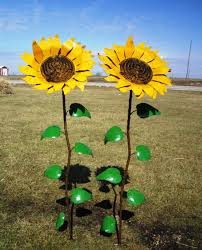 67 recycled metal giant sunflower stake yard decor click to enlarge on sunflower wall art metal with 67 recycled metal giant sunflower stake yard decor