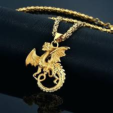 gold dragon pendant necklace stainless steel byzantine chain punk statement men jewelry color 24k