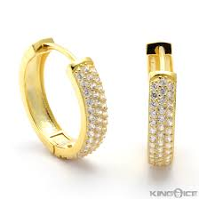 mens iced out earrings gold finish full men hoop view larger vera love collection rings