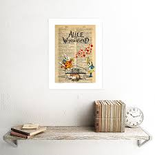 upcycle dictionary alice wonderland collage framed art print poster f12x10549 picture 2 of 3 picture 3 of 3 on alice in wonderland framed wall art with upcycle dictionary alice wonderland collage framed art print poster