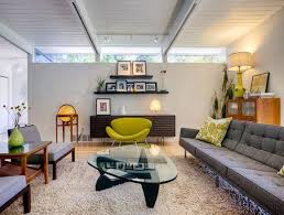 apartment style furniture. Stunning Modern Furniture Decorating Ideas For Artistic Living Room Midcentury Design With Exposed Beams Floating Shelves Glass Coffee Table Green Apartment Style N