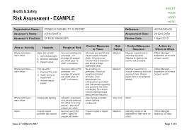 Assessment Example Risk Assessment Form Sample - Resume Template Ideas