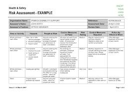 Assessment Example Risk Assessment Form Sample - Resume Template Ideas