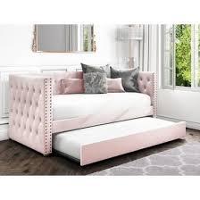 sacha velvet day bed in baby pink
